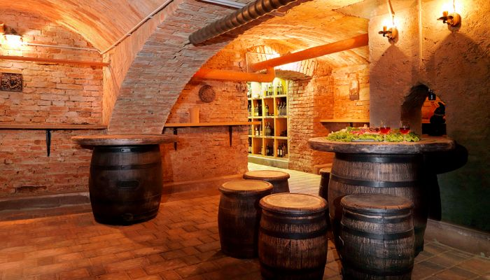 Wine cellar in Slovenia - many houses have them